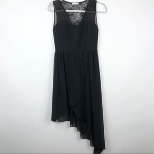 Soprano Black Asymmetrical Dress Lace Back